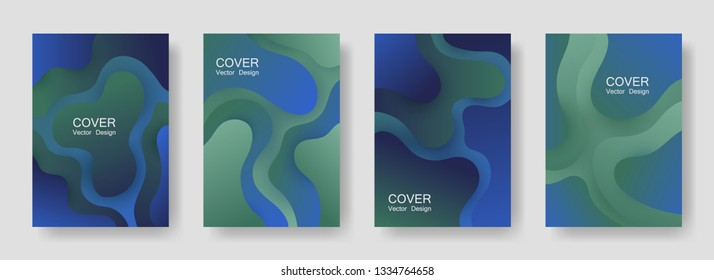 Gradient liquid shapes abstract covers vector collection. Geometric brochure backgrounds design. Flux paper cut effect blob elements backdrop, fluid wavy shapes texture print. Cover templates.