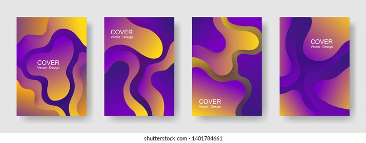 Gradient liquid shapes abstract covers vector set. Hipster flyer backgrounds design. Organic bubble fluid splash shapes, oil drop molecular mixture concept backdrop. Cover layouts.
