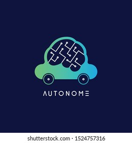 Gradient logo for self driving car. Autonomous car logo company. Driverless car simple vector design. Modern technology logo. Blue and green car-brain modern illustration. Driverless car system