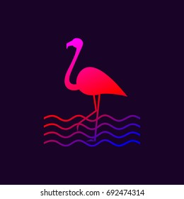 Gradient logo is silhouette of flamingo standing on one leg. Vector design