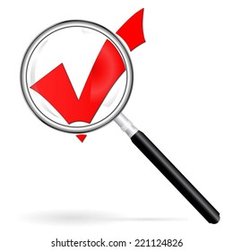 Gradient Magnifier enlarges assent,drop shadow,Isolated image of a magnifying glass,red check mark under a magnifying glass