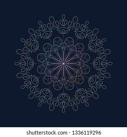 Gradient mandala, ornate design with dark background.