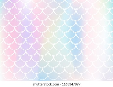 Gradient mermaid background with holographic scales. Bright color transitions. Fish tail banner and invitation. Underwater and sea pattern for girlie party. Neon backdrop with gradient mermaid.