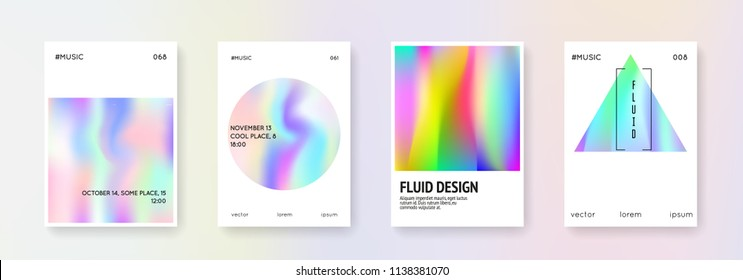 Gradient mesh cover set. Abstract backgrounds. Trendy gradient mesh cover with holographic foil. 90s, 80s retro style. Iridescent graphic template for placard, presentation, banner, brochure.