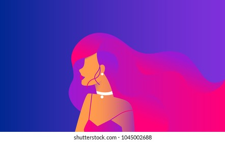 Gradient modern design for website banner or promo landpage of beauty hair salon. Sensual woman wearing long gradient hairstyle on blue and purple background