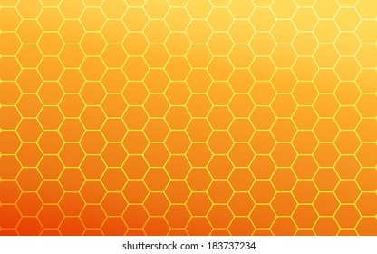 gradient of orange color and hexagon background (vector)