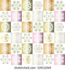 gradient ornaments and snowflakes