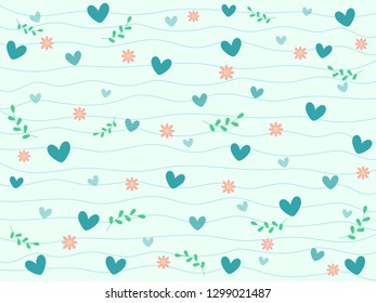Gradient pastel blue heart, lovely pink flower and green leaf on pastel blue background with wave curve line. Sweet and beautiful vector pattern for Valentine love theme wallpaper and other design.