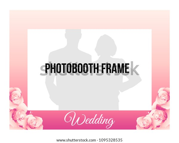 Gradient Photobooth Frame Wedding Vector Template Stock