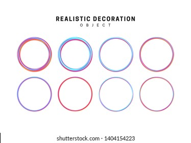 Gradient, pink and blue geometric shapes. Set decorative design elements isolated on white background. 3d objects shaped round rings of different thickness. Realistic vector illustration.