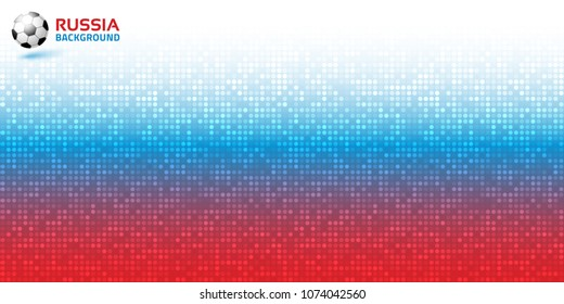 Gradient pixel digital red blue horizontal background. Russia flag colors 2018. Soccer ball icon. Vector illustration.