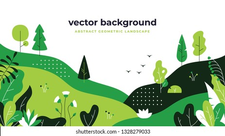 Gradient plant landscape. Minimal flat leaves design, color gradation cartoon background, forest plants. Vector floral nature poster