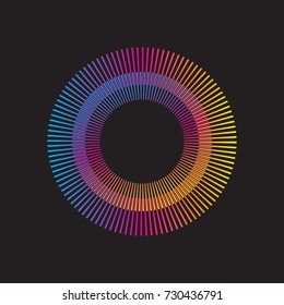 Gradient rainbow circle vector sunburst. Color sunbeams. Frame with rays.