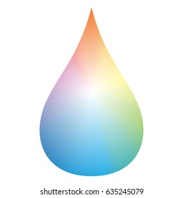 Gradient rainbow color drop - isolated vector illustration on white background.