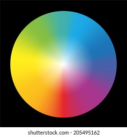 Gradient rainbow color wheel. Isolated vector illustration on black background.