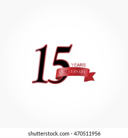 gradient red ribbon anniversary logo vector