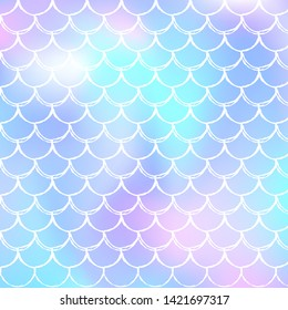 Gradient scale background with holographic mermaid. Bright color transitions. Fish tail banner and invitation. Underwater and sea pattern for girlie party. Spectrum backdrop with gradient scale.