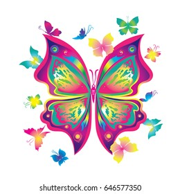 Gradient silhouette butterfly vector. A large arrangement of butterflies to decorate clothes and accessories. In the center of a large pink butterfly, around the little moths.