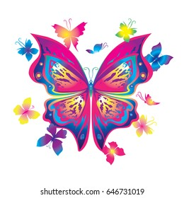 Gradient silhouette butterfly vector. A large arrangement of butterflies to decorate clothes and accessories. In the center of a large bright blue butterfly.