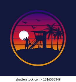 Gradient Sunset with sillhouette of lifeguard on beach in California | Vector Graphic for apparel t-shirt