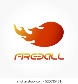 gradient yellow orange red flaming fireball logo vector.