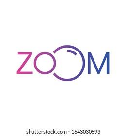 gradient zoom logo. zoom word concept