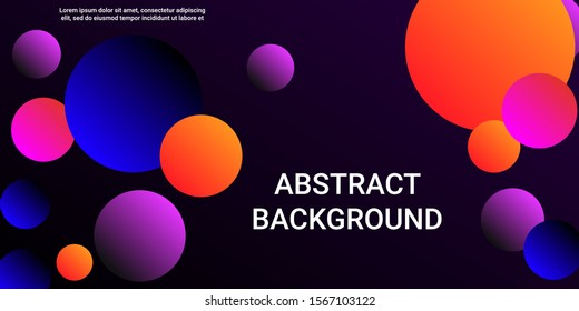 Gradients of balls shapes. Modern design of coverages. Vector geometric illustration. Halftone, 3d. Abstract background of blue, purple, red, orange gradients beads shapes.