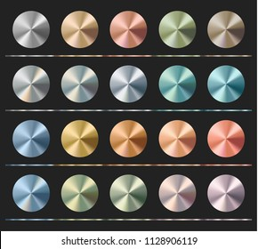 Gradients set template, metallic texture, radial glossy background, vector illustration