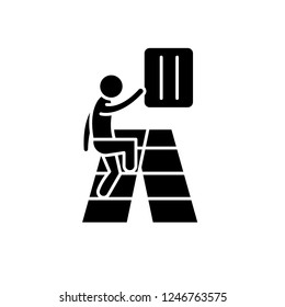 Gradual development black icon, vector sign on isolated background. Gradual development concept symbol, illustration