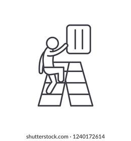 Gradual development line icon concept. Gradual development vector linear illustration, symbol, sign