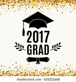 Graduate 2017 class of greeting card with hat, scroll and laurel for invitation, banner, poster, postcard. Vector illustration