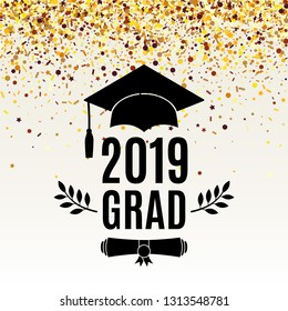 Graduate 2019 class of greeting card with scroll, hat, laurel on beige background with falling golden confetti for invitation, banner, poster, postcard. Vector illustration. All isolated and layered