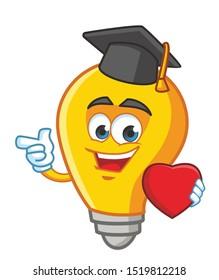 graduate bulb cartoon mascot character vector design