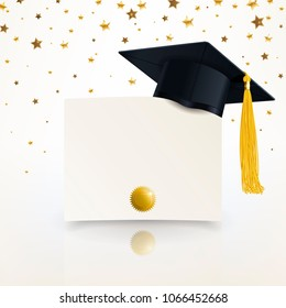 graduate cap and diploma of graduation on the background confetti of gold stars