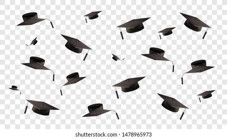 Graduate cap on a transparent background. Caps thrown up. Vector illustration