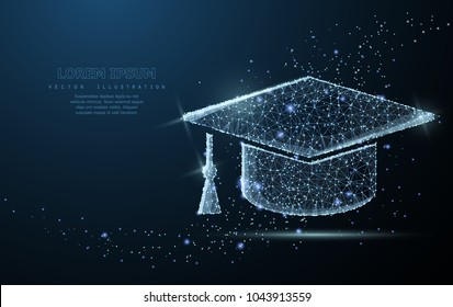 Graduate cap. Polygonal wireframe mesh on blue night sky with dots, stars and looks like constellation. Education, university, success illustration or background