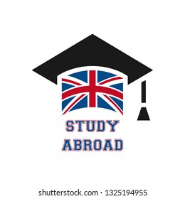 Graduate cap with stylized England flag. vector illustration. Education icon. Font STUDY ABROAD logo with english national symbol