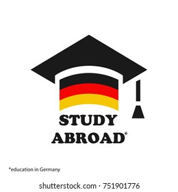 Graduate cap with stylized German flag. vector illustration. Education in Germany icon. Font STUDY ABROAD icon,logo