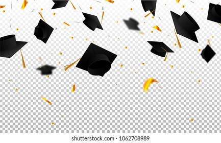 Graduate caps and confetti on a transparent background. Caps thrown up. Invitation card with diplomas. 3D illustration