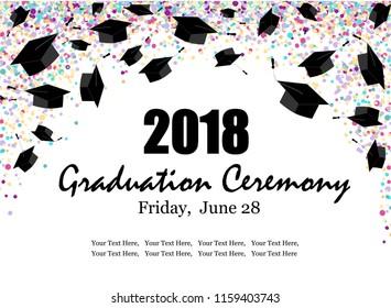 Graduate caps with multi colored confetti banner