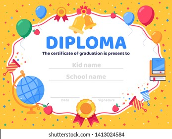 Graduate diploma. School graduation, graduates congratulations and preschool kid or kindergarten certificate vector illustration