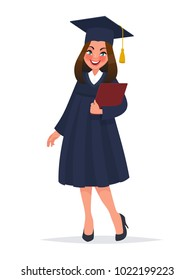 Graduate girl in mantle with diploma. Vector illustration in cartoon style