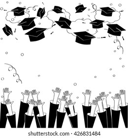 Graduate Hands Throwing Up Graduation Hats. Graduation Background with Place for Text. Graduation Caps in the Air. Black and white.