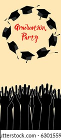 Graduate Hands Throwing Up Graduation Hats. Graduation Card with Place for Text