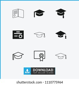 Graduate icon. collection of 9 graduate filled and outline icons such as arrows up, diploma, graduation hat. editable graduate icons for web and mobile.