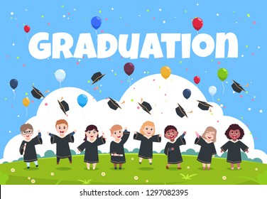 Graduate kids background. Children wearing in academic clothes celebrating graduation day vector illustration