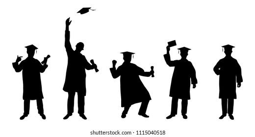 Graduate man silhouette vector set,Education concept