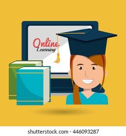 graduate online education isolated icon design, vector illustration graphic