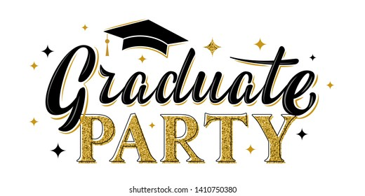 Graduate party greeting sign. Graduation label. Vector design for graduation design, congratulation ceremony, invitation card, banner. Grads symbol for university, high school, academy, college