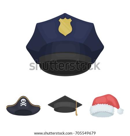 8695562f832 Graduate Santa Police Pirate Hats Set Stock Vector (Royalty Free ...